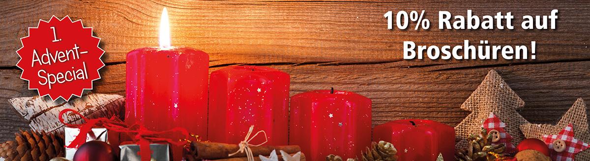 1. Advent-Special: 10% Rabatt auf Broschüren