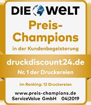 DruckDiscount24.de: Preis-Champion in der Kundenbegeisterung und Nr. 1 der Druckereien