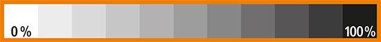 Graustufenkeil als Orientierung für den Druck verschiedener Schwarztöne