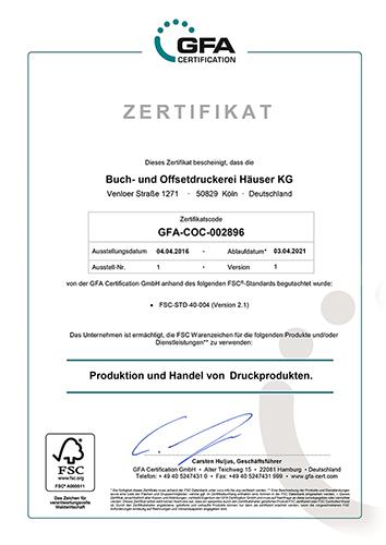 FSC®-Zertifikat der GFA Certification GmbH