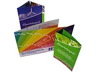 Folder in verschiedenen Größen und Falzarten