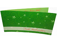 4-seitige Glückwunschkarte zu Weihnachten und Neujahr