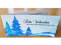 4-seitige Glückwunschkarte für Weihnachten, mit UV- und Relief-Lackierung