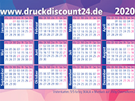 Kalenderkarten 2020 im Visitenkarten-Format