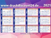 Visitenkarten als Minikalender für 2021