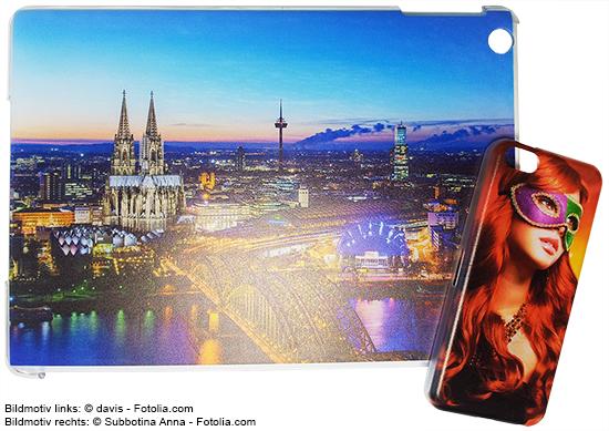 Tablet- und Handy-Cover mit Hartkunststoff-Schale